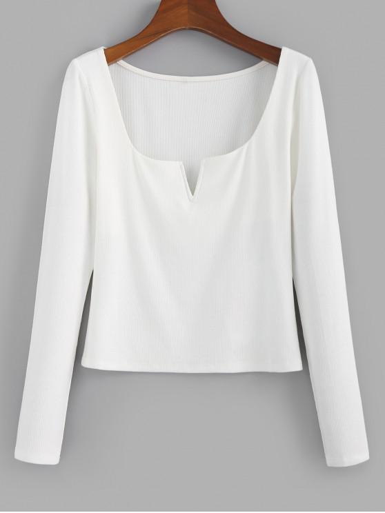 affordable ZAFUL V Notched Ribbed Crop T-shirt - WHITE XL