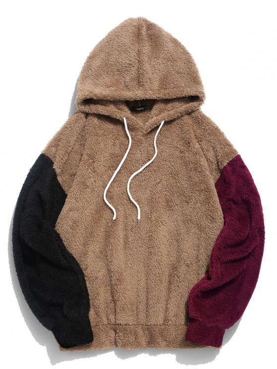 best ZAFUL Color-blocking Splicing Fuzzy Pullover Hoodie - CAMEL BROWN XL
