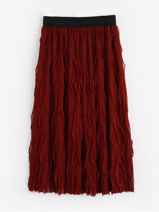 buy High Waist Pleated A Line Skirt - RED WINE S