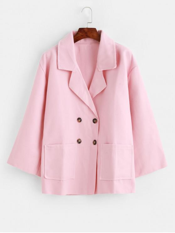 buy Double Breasted Notch Lapel Pocket Tunic Coat - PINK 2XL