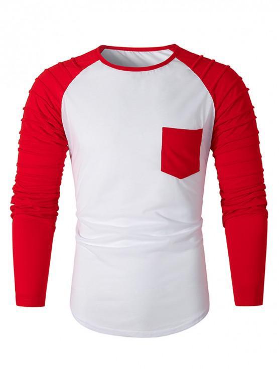shop Pleated Raglan Sleeve Colorblock Spliced Chest Pocket T-shirt - RED 3XL
