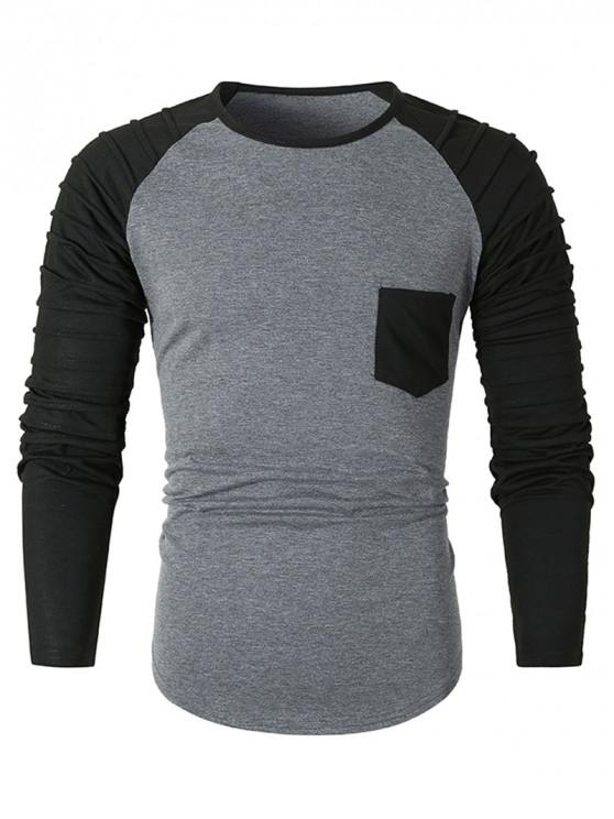 buy Pleated Raglan Sleeve Colorblock Spliced Chest Pocket T-shirt - DARK GRAY 2XL