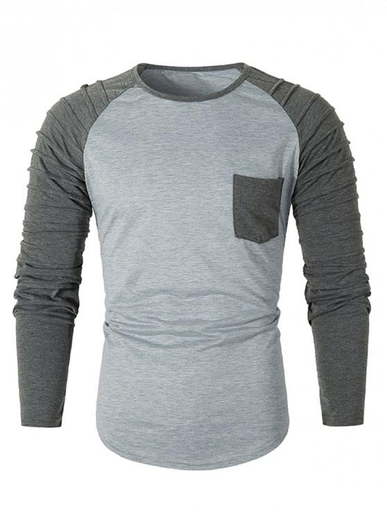sale Pleated Raglan Sleeve Colorblock Spliced Chest Pocket T-shirt - LIGHT GRAY 3XL