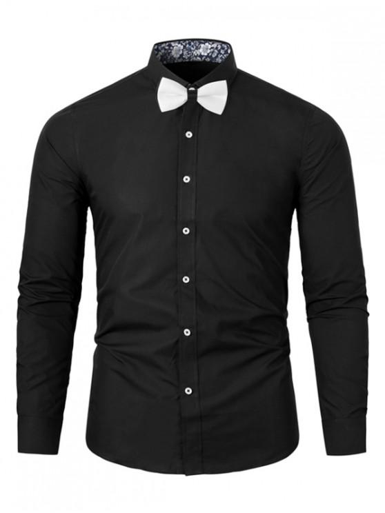 online Long-sleeved Floral Printed Button Up Shirt - BLACK 2XL