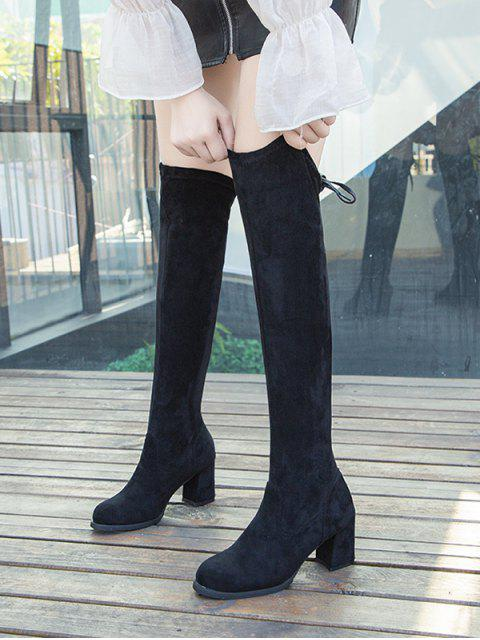 hot Faux Suede Chunky Heel Thigh High Boots - BLACK EU 41 Mobile