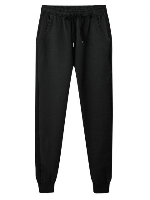 latest Solid Color Casual Drawstring Jogger Pants - BLACK S Mobile