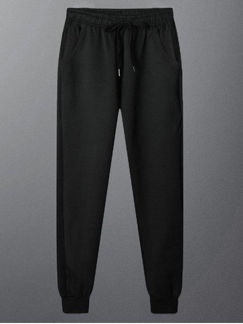 affordable Solid Color Casual Drawstring Jogger Pants - BLACK XS Mobile