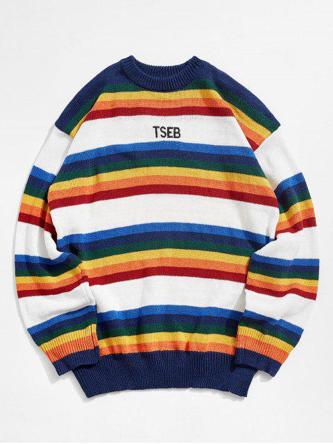 latest Colorful Stripes Embroidery Sweater - WHITE M Mobile