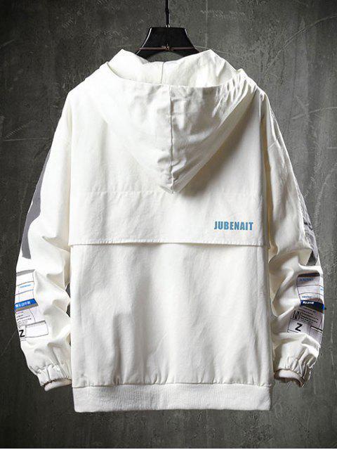 hot Letter Pocket Decoration Casual Jacket - WHITE L Mobile