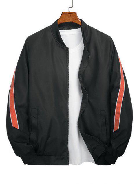 new Color Spliced Pocket Design Zip Up Jacket - BLACK L Mobile