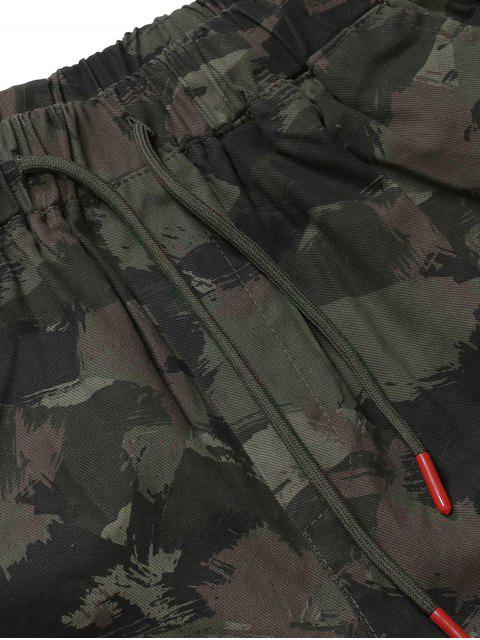 ladies Camouflage Multi-Pocket Drawstring Cargo Jogger Pants - ARMY GREEN M Mobile