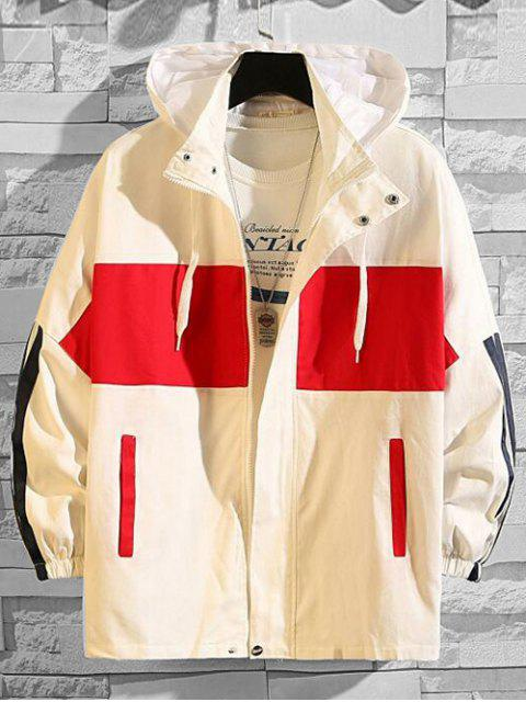 lady Color Blocking Spliced Letter Graphic Hooded Jacket - RED M Mobile
