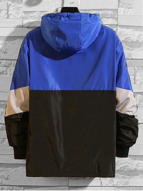 Veste à Capuche Lettre Graphique en Blocs de Couleurs Jointif à Demi-Zip - Bleu 2XL Mobile