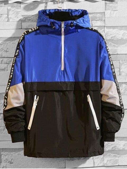 Veste à Capuche Lettre Graphique en Blocs de Couleurs Jointif à Demi-Zip - Bleu XL Mobile