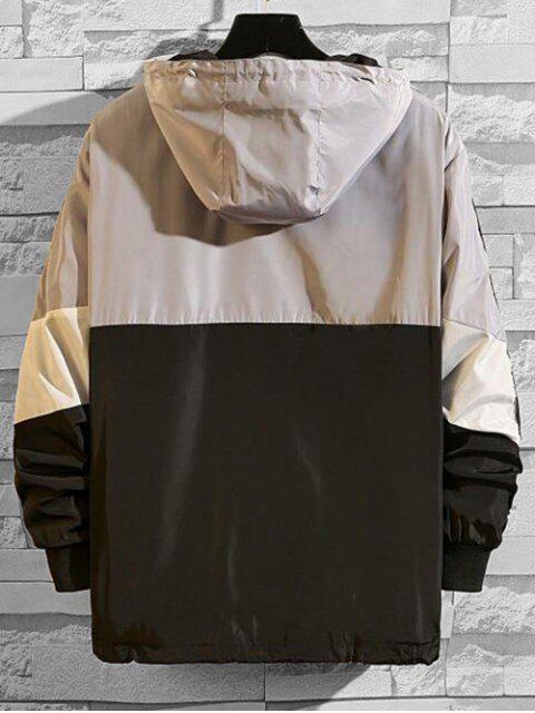 Veste à Capuche Lettre Graphique en Blocs de Couleurs Jointif à Demi-Zip - Gris XL Mobile