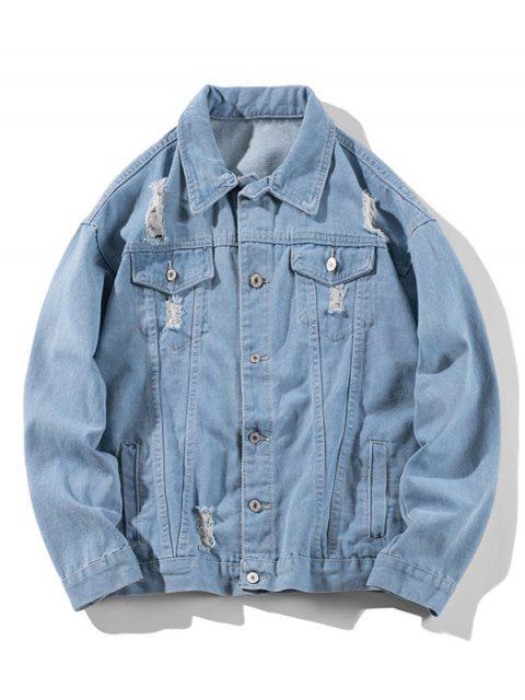 shop Distressed Solid Ripped Flap Pocket Jean Jacket - LIGHT BLUE 3XL Mobile