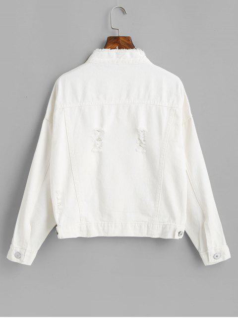 Veste Effrangée Déchirée avec Poche en Denim - Blanc M Mobile