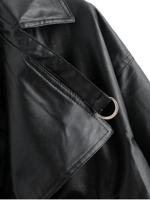 Veste Goutte Epaule en Faux Cuir à Bouton-Pression - Noir Taille Unique Mobile