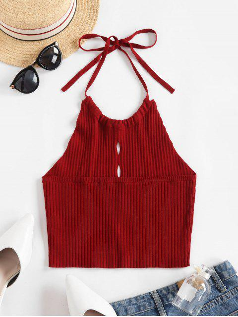 trendy ZAFUL Hollow Out Crop Halter Sweater Vest - RED WINE L Mobile