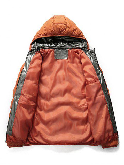 affordable Quilted Hooded Padded Jacket with Earphone - ORANGE XS Mobile