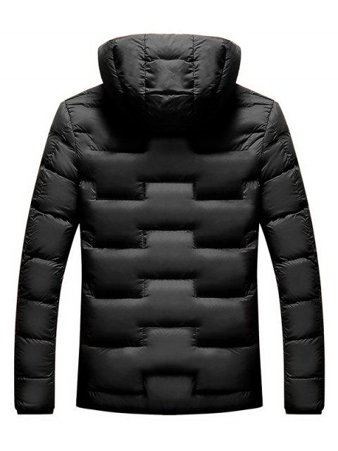 womens Quilted Hooded Padded Jacket with Earphone - BLACK M Mobile