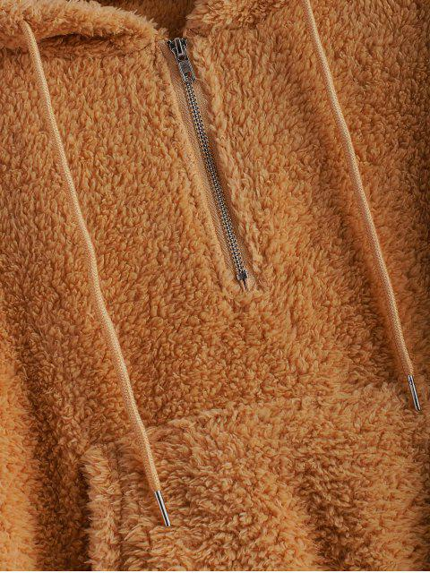 Fluffy Sudadera con Capucha de MediaCremalleraconBolsillo de Canguro - Marrón M Mobile