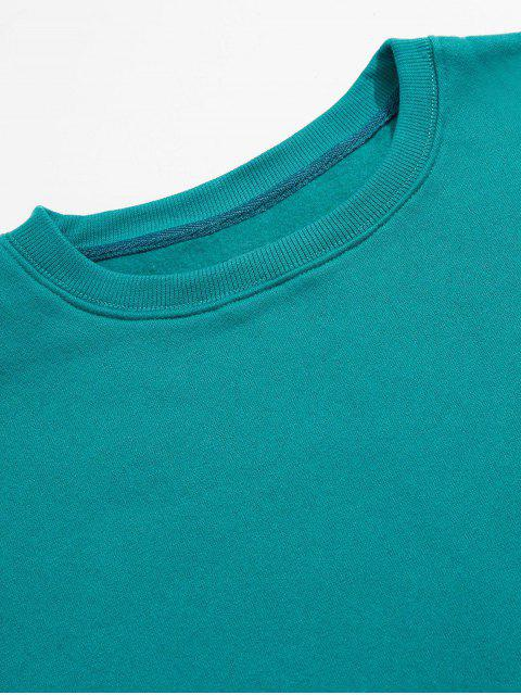 latest Solid Color Crew Neck Fleece Basic Sweatshirt - GREEN M Mobile