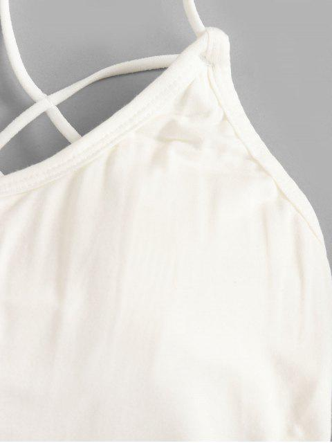 women Strappy Caged Padded Cami Top - WHITE ONE SIZE Mobile