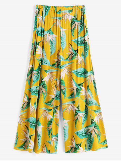 Высокий разрез Принт тропических листьев Пляжные Брюки - Золотисто-коричневый Один размер Mobile
