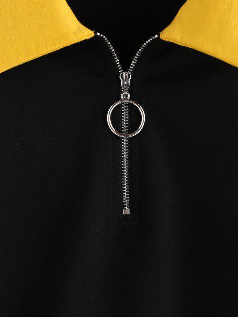 ZAFUL Sweat-shirt Zippé en Blocs de Couleurs à Goutte Epaule - Noir M Mobile