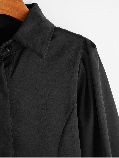 fancy Ruched Long Sleeves OL Shirt - BLACK L Mobile