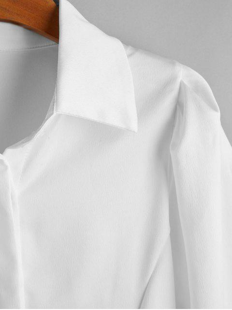 latest Ruched Long Sleeves OL Shirt - WHITE L Mobile