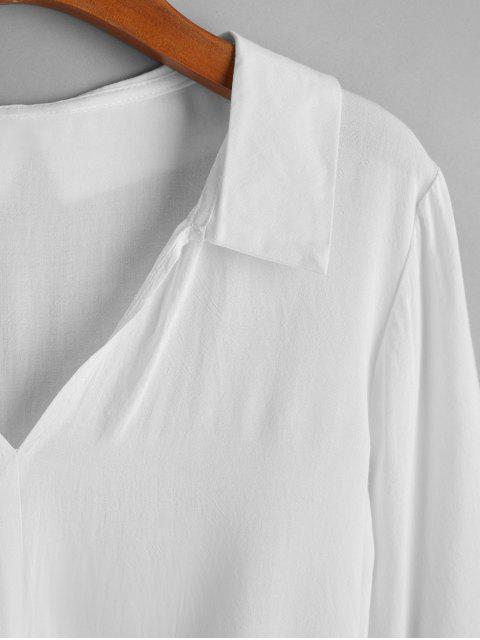 women Self Tie V Neck Blouse - WHITE XL Mobile