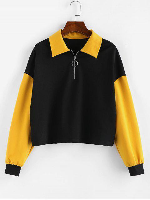 ZAFUL Sweat-shirt Zippé en Blocs de Couleurs à Goutte Epaule - Noir L Mobile