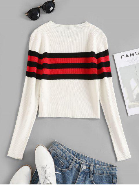 buy Contrast Striped Ribbed Crop Sweater - WHITE M Mobile