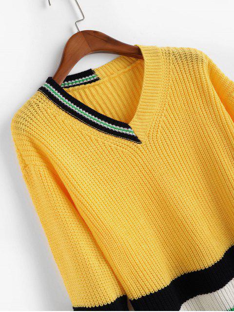 ドロップショルダーカラーブロックストライプVネックセーター - 明るい黄色 ワンサイズ Mobile