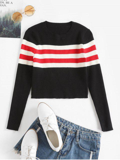outfit Contrast Striped Ribbed Crop Sweater - BLACK M Mobile