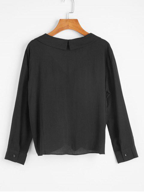 shop Self Tie V Neck Blouse - BLACK M Mobile