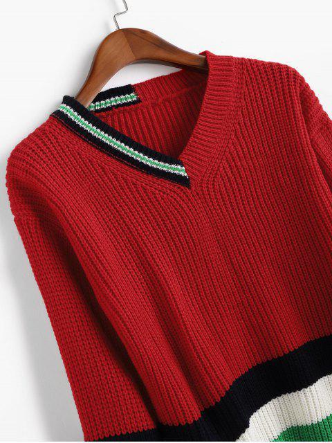 Camisola da Gota Ombro Bloco de Cores Listras com Decote em V - Vermelho Um Tamanho Mobile