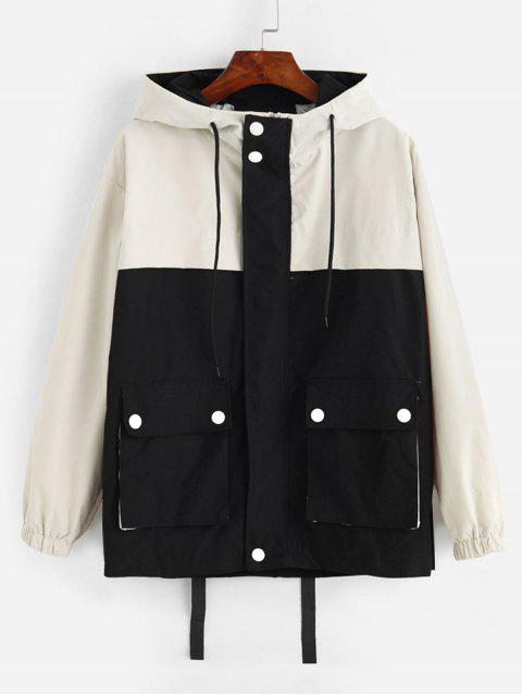 Colorblock bolsillos con solapa chaqueta con capucha Campo - Negro S Mobile
