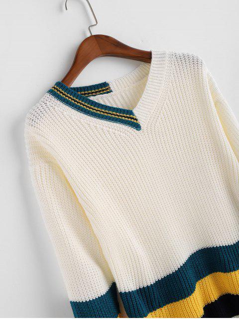 Caída de hombro del bloque del color de rayas con cuello en V suéter - Blanco Talla única Mobile