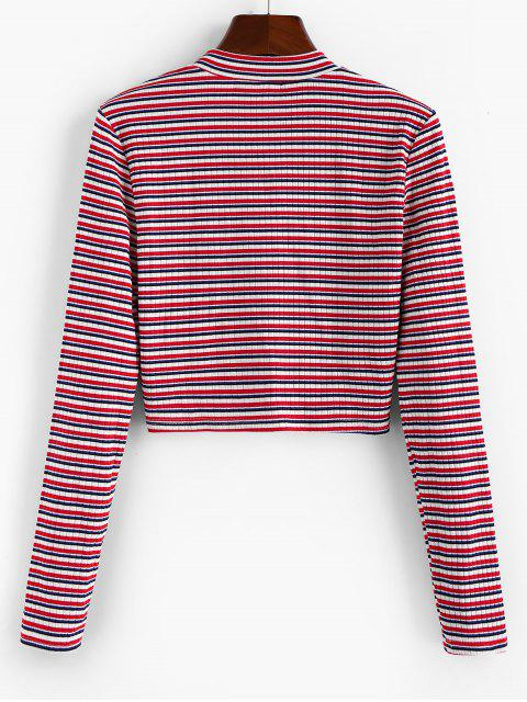 outfits ZAFUL Half-zip Multi Striped Crop Top - MULTI L Mobile