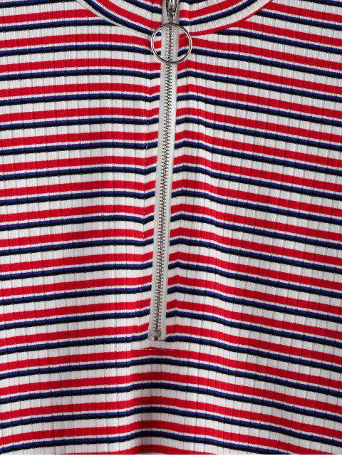 sale ZAFUL Half-zip Multi Striped Crop Top - MULTI M Mobile