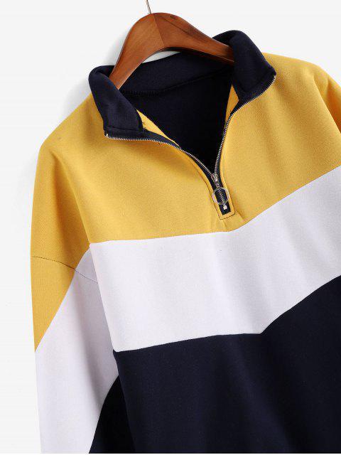 El color de bloqueo de extracción de anillo Zip Fleece forrado con capucha - Azul Profundo XL Mobile