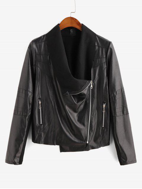 Veste de Motard Zippée Panneau Côtelé à Doublure en Laine en Faux Cuir - Noir XL Mobile