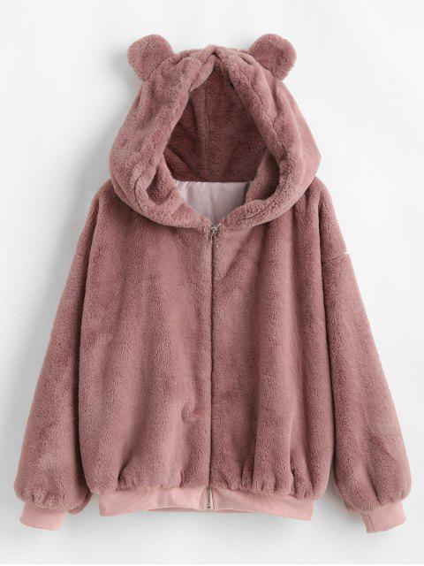 ZAFUL Manteau Oreille d'Ours à Goutte Epaule en Fausse Fourrure - Rouge à Lèvres Rose XL Mobile