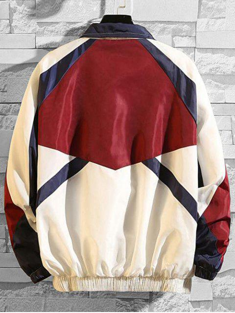 women's Letter Embroidery Colorblock Splicing Raglan Sleeve Jacket - RED M Mobile