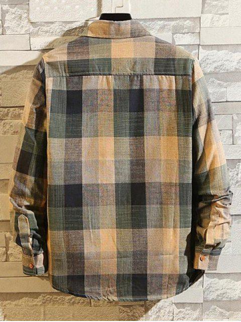 chic Checkered Print Long Sleeve Button Slim Fit Shirt - MULTI-B XL Mobile