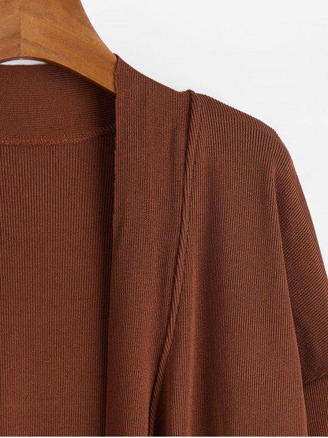 自領帶縫延繩釣開衫 - 棕色 M Mobile