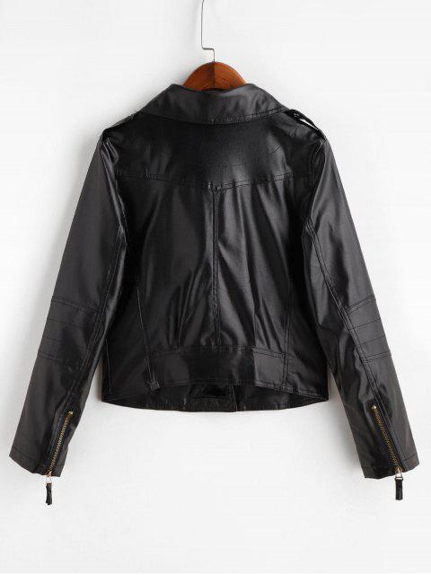 Asymmetrische Reißverschluss Faux Leder Taschen Jacke - Schwarz XS Mobile